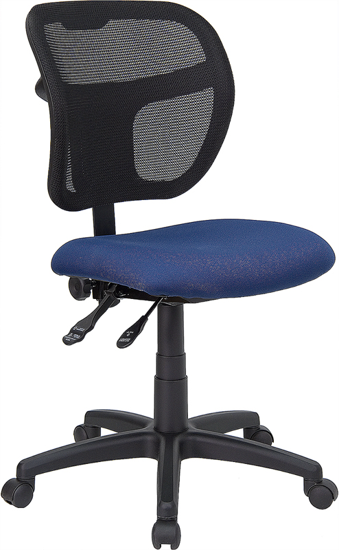 Mid-Back Mesh Swivel Task Chair with Navy Blue Fabric Padded Seat