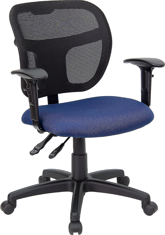 Mid-Back Mesh Swivel Task Chair with Navy Blue Fabric Padded Seat and Height Adjustable Arms