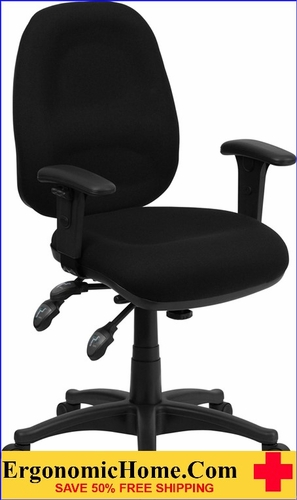 Ergonomic Home Mid-Back Multi-Functional Black Fabric Executive Swivel Office Chair <b><font color=green>50% Off Read More Below...</font></b>