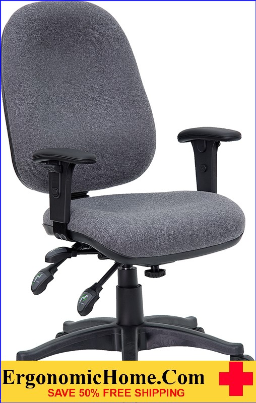 Ergonomic Home Mid-Back Multi-Functional Gray Fabric Executive Swivel Office Chair .