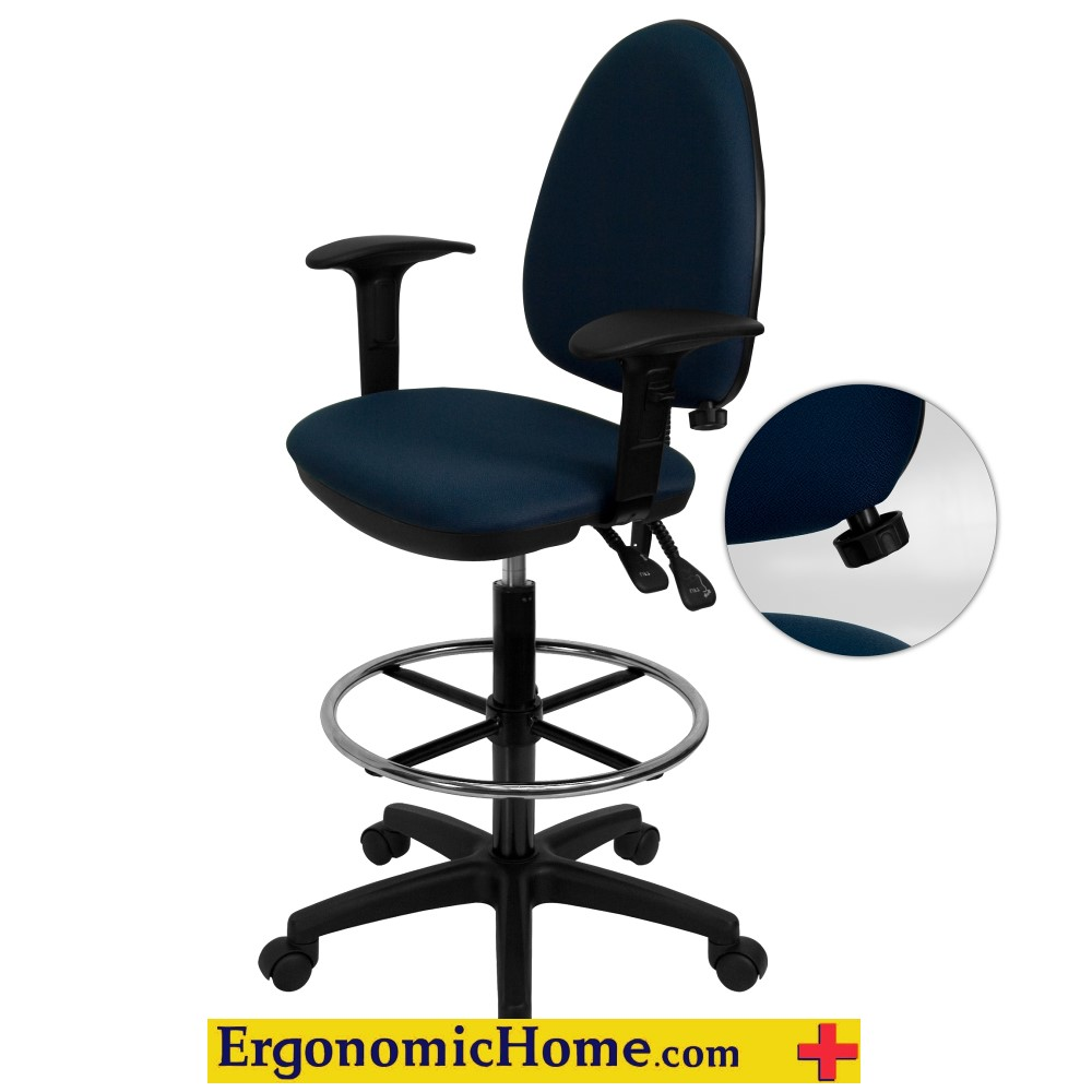 Mid-Back Navy Blue Fabric Multi-Functional Drafting Chair with Adjustable Lumbar Support and Height Adjustable Arms