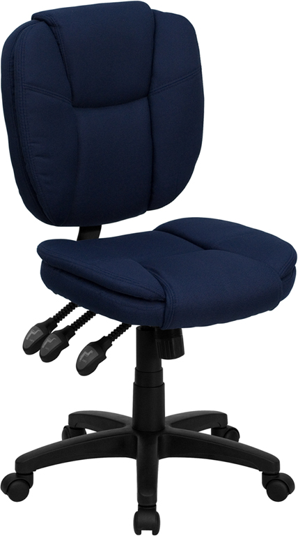 Mid-Back Navy Blue Fabric Multi-Functional Ergonomic Swivel Task Chair.