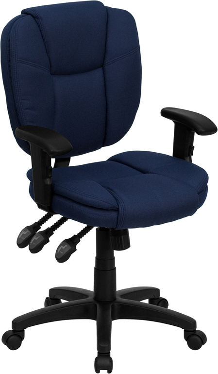 Mid-Back Navy Blue Fabric Multi-Functional Ergonomic Swivel Task Chair with Height Adjustable Arms.