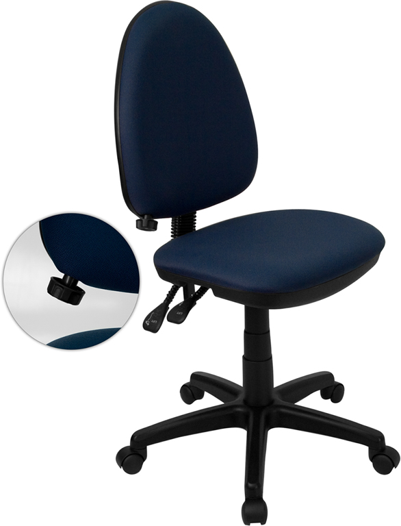 Ergonomic Home Mid-Back Navy Blue Fabric Multi-Functional Swivel Task Chair with Adjustable Lumbar Support <b><font color=green>50% Off Read More Below...</font></b>