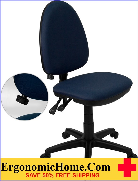 Ergonomic Home Mid-Back Navy Blue Fabric Multi-Functional Swivel Task Chair with Adjustable Lumbar Support <b><font color=green>50% Off Read More Below...</font></b></font></b>