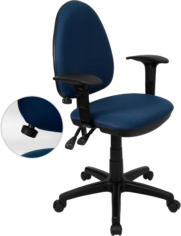 Ergonomic Home Mid-Back Navy Blue Fabric Multi-Functional Swivel Task Chair with Adjustable Lumbar Support and Height Adjustable Arms <b><font color=green>50% Off Read More Below...</font></b>