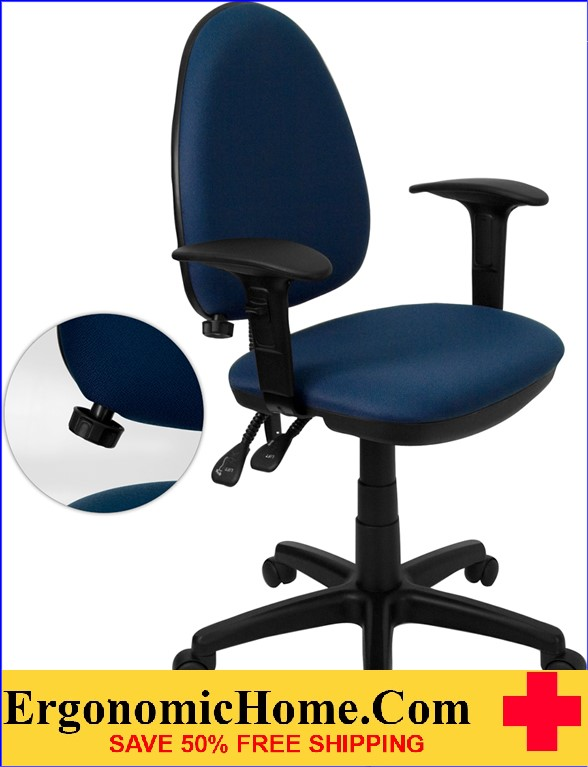 Ergonomic Home Mid-Back Navy Blue Fabric Multi-Functional Swivel Task Chair with Adjustable Lumbar Support and Height Adjustable Arms <b><font color=green>50% Off Read More Below...</font></b></font></b>