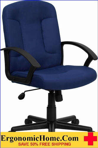 Ergonomic Home Mid-Back Navy Fabric Executive Swivel Office Chair with Nylon Arms <b><font color=green>50% Off Read More Below...</font></b></font></b>