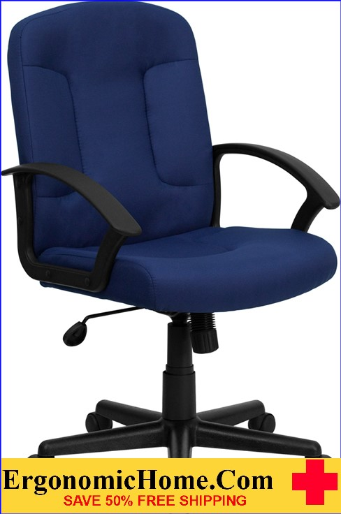 Ergonomic Home Mid-Back Navy Fabric Executive Swivel Office Chair with Nylon Arms <b><font color=green>50% Off Read More Below...</font></b>