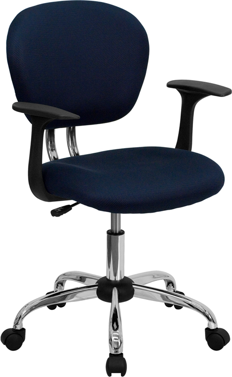Mid-Back Navy Mesh Swivel Task Chair with Chrome Base and Arms