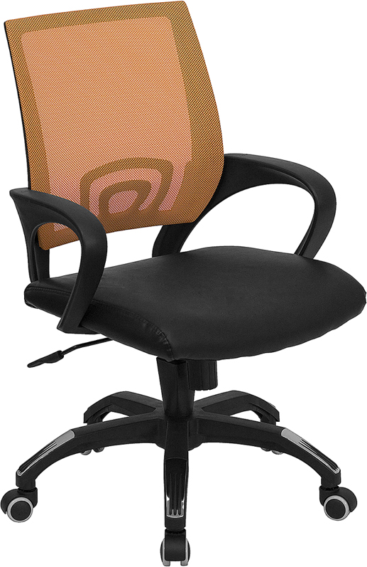 Mid-Back Orange Mesh Swivel Task Chair with Black Leather Padded Seat