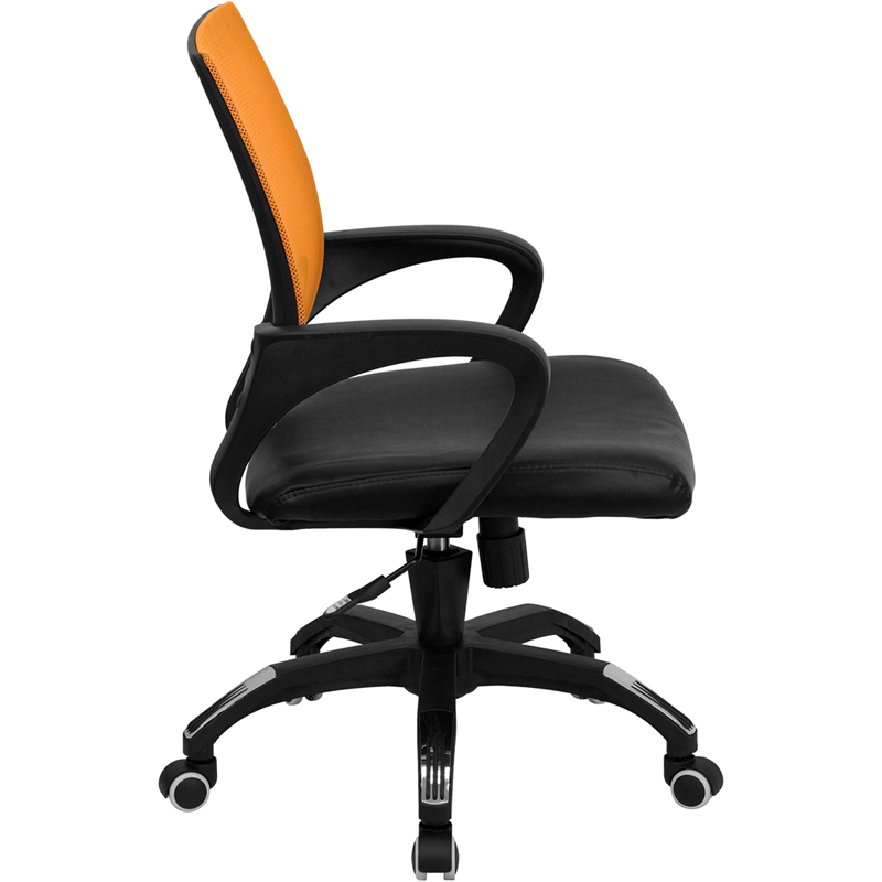 Ergonomic Home Mid Back Orange Mesh Swivel Task Chair With Black Leather Padded Seat Eh Cp B176a01 Gg 50 Off Below