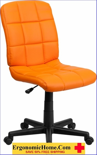 Ergonomic Home Mid-Back Orange Quilted Vinyl Swivel Task Chair EH-GO-1691-1-ORG-GG <b><font color=green>50% Off Read More Below...</font></b>