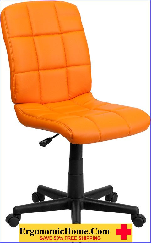 </b></font>Ergonomic Home Mid-Back Orange Quilted Vinyl Swivel Task Chair EH-GO-1691-1-ORG-GG <b></font>. </b></font></b>