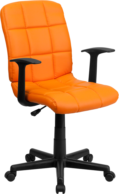 Ergonomic Home Mid-Back Orange Quilted Vinyl Swivel Task Chair with Nylon Arms EH-GO-1691-1-ORG-A-GG <b><font color=green>50% Off Read More Below...</font></b>