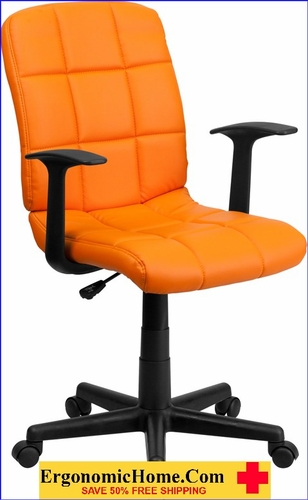 Ergonomic Home Mid-Back Orange Quilted Vinyl Swivel Task Chair with Nylon Arms EH-GO-1691-1-ORG-A-GG <b><font color=green>50% Off Read More Below...</font></b></font></b>