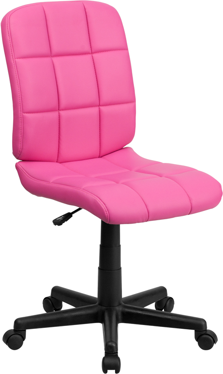 Ergonomic Home Mid-Back Pink Quilted Vinyl Swivel Task Chair EH-GO-1691-1-PINK-GG <b><font color=green>50% Off Read More Below...</font></b>