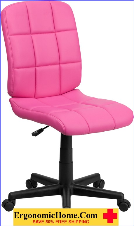 </b></font>Ergonomic Home Mid-Back Pink Quilted Vinyl Swivel Task Chair EH-GO-1691-1-PINK-GG <b></font>. </b></font></b>