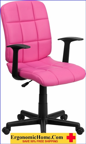 Ergonomic Home Mid-Back Pink Quilted Vinyl Swivel Task Chair with Nylon Arms EH-GO-1691-1-PINK-A-GG <b><font color=green>50% Off Read More Below...</font></b></font></b>&#x1F384<font color=red><b>ERGONOMICHOME HOLIDAY SALE</b></font>&#x1F384