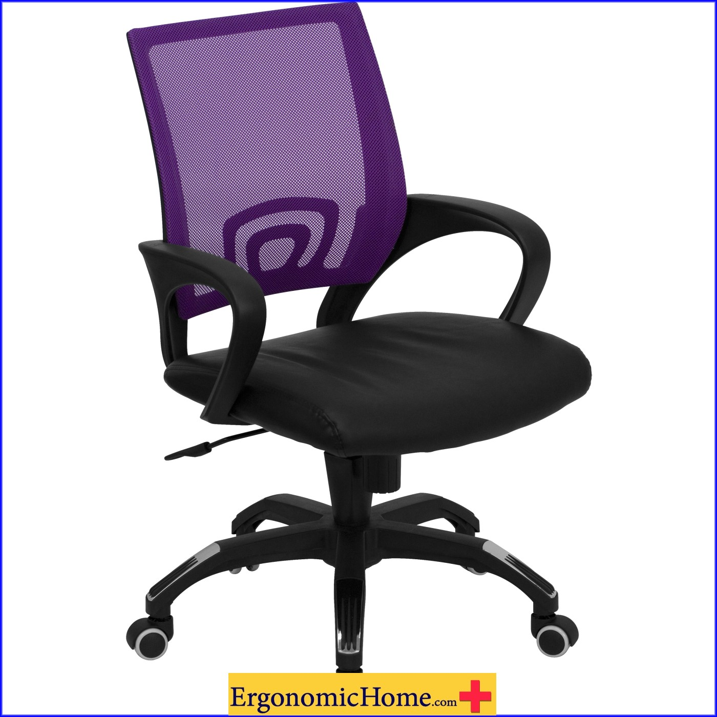 Ergonomic Home Purple Mesh Swivel Task Chair Mid-Back with Black Leather Padded Seat EH-CP-B176A01-PURPLE-GG <b><font color=green>50% Off Read More Below...</font></b>