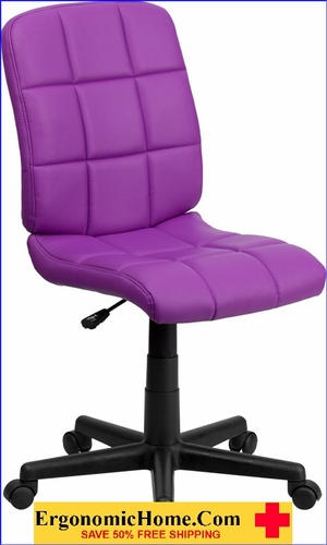 Ergonomic Home Mid-Back Purple Quilted Vinyl Swivel Task Chair EH-GO-1691-1-PUR-GG <b><font color=green>50% Off Read More Below...</font></b>