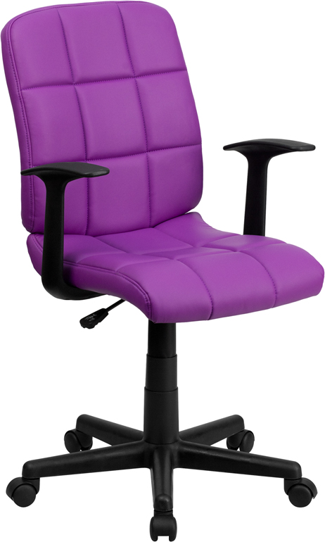 <font color=#c60>Save 50% w/Free Shipping!</font> Mid-Back Purple Quilted Vinyl Swivel Task Chair with Nylon Arms GO-1691-1-PUR-A-GG <font color=#c60>Read More ... </font>