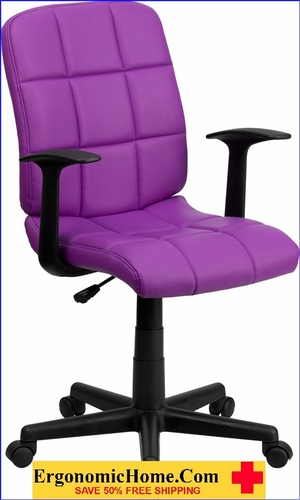 Ergonomic Home Mid-Back Purple Quilted Vinyl Swivel Task Chair with Nylon Arms EH-GO-1691-1-PUR-A-GG <b><font color=green>50% Off Read More Below...</font></b>