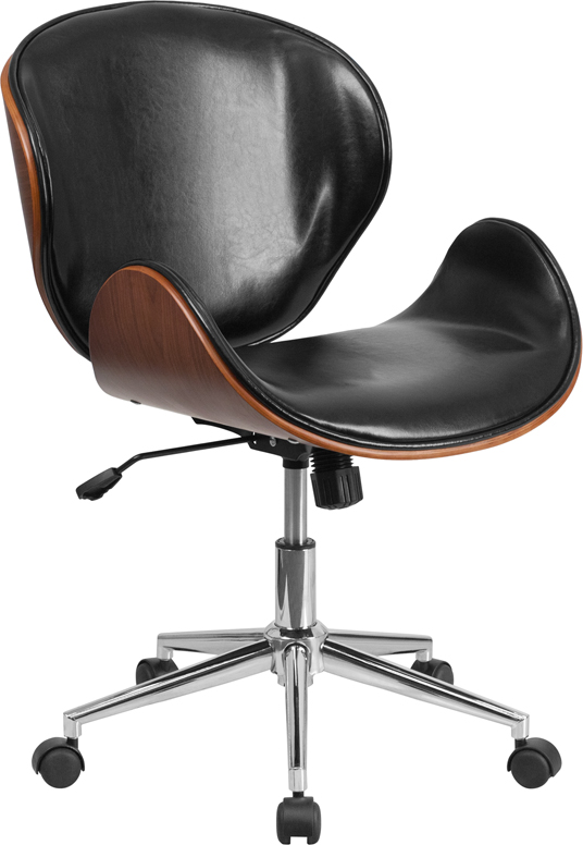 Mid-Back Walnut Wood Swivel Conference Chair in Black Leather