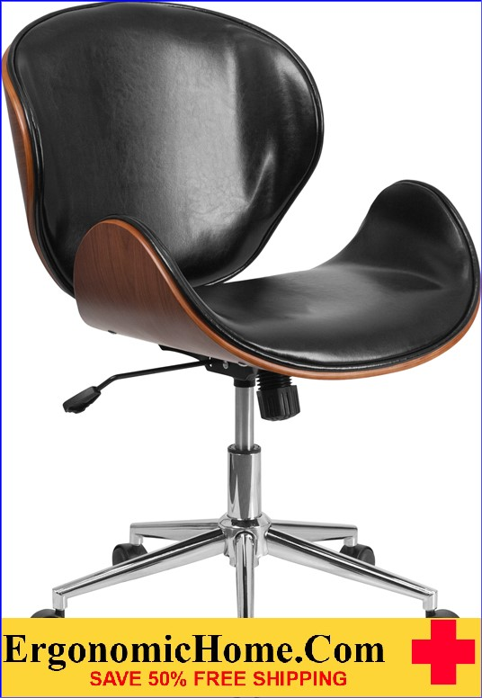 Ergonomic Home Mid-Back Walnut Wood Swivel Conference Chair in Black Leather <b><font color=green>50% Off Read More Below...</font></b>