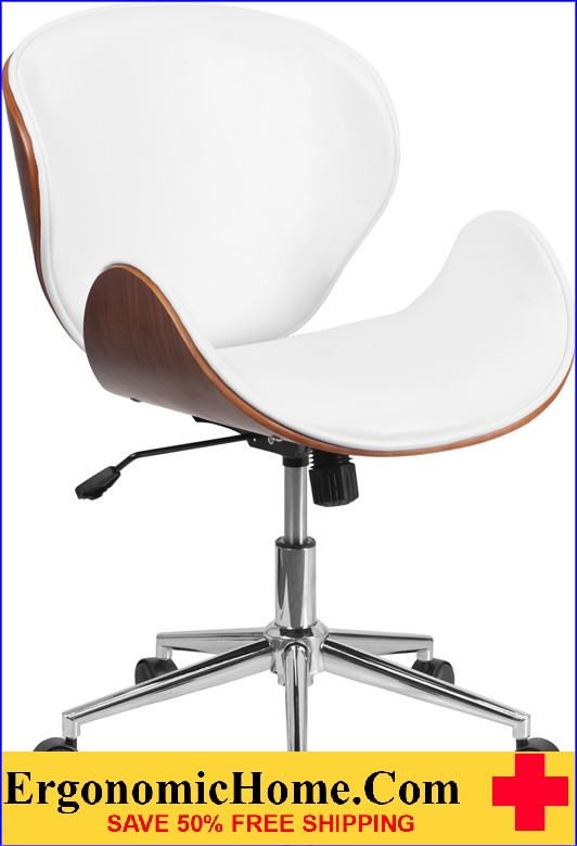 Ergonomic Home Mid-Back Walnut Wood Swivel Conference Chair in White Leather <b><font color=green>50% Off Read More Below...</font></b>