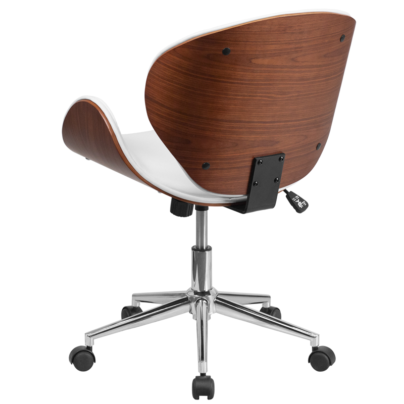 Ergonomic Home Mid Back Walnut Wood Swivel Conference Chair In White Leather