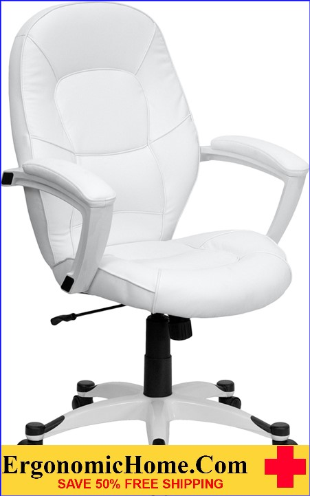 Ergonomic Home Mid-Back White Leather Executive Swivel Office Chair <b><font color=green>50% Off Read More Below...</font></b>