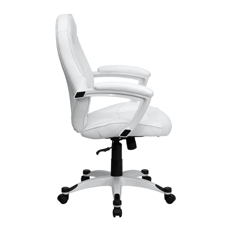 Ergonomic Home Mid Back White Leather Executive Swivel Office Chair 50 Off Below