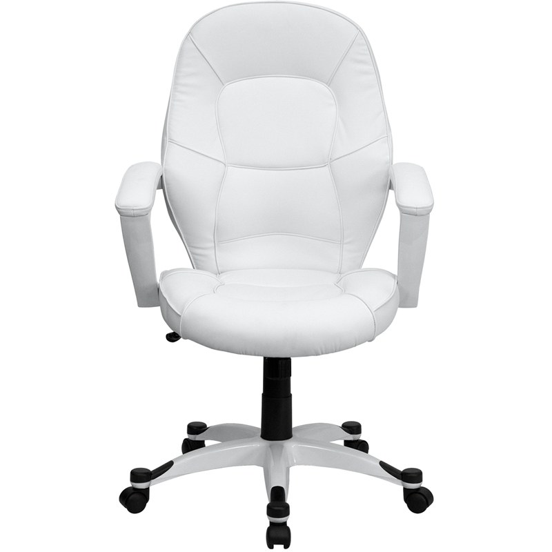 ergonomic home mid back white leather executive swivel office chair