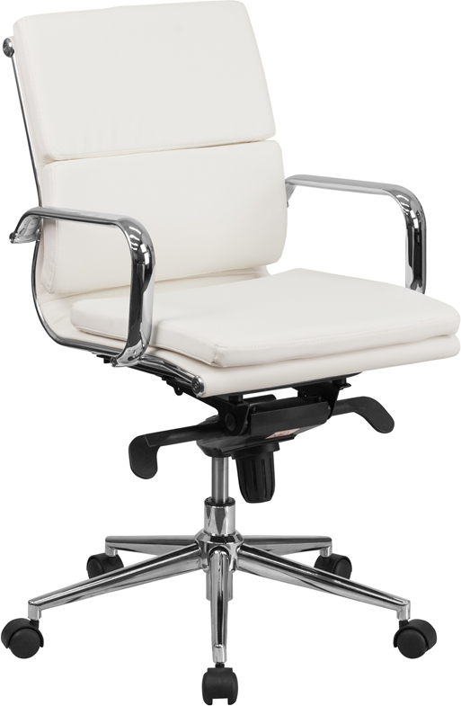 Mid-Back White Leather Executive Swivel Office Chair with Synchro-Tilt Mechanism