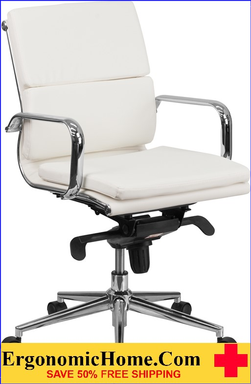 Ergonomic Home Mid-Back White Leather Executive Swivel Office Chair with Synchro-Tilt Mechanism <b><font color=green>50% Off Read More Below...</font></b>