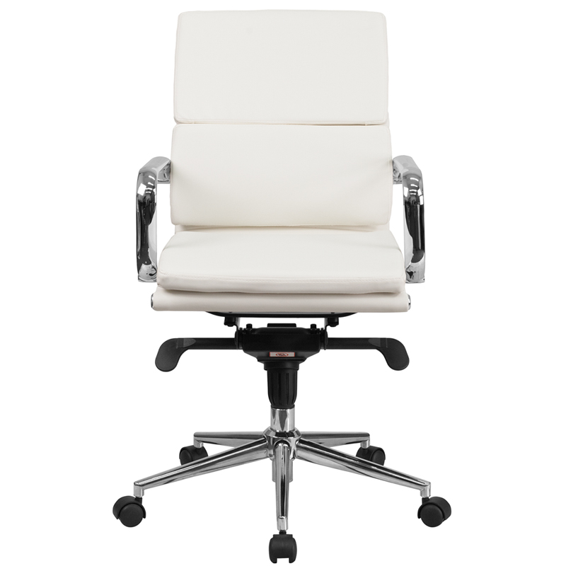 Ergonomic Home Mid Back White Leather Executive Swivel Office Chair With Synchro Tilt Mechanism 50 Off Below