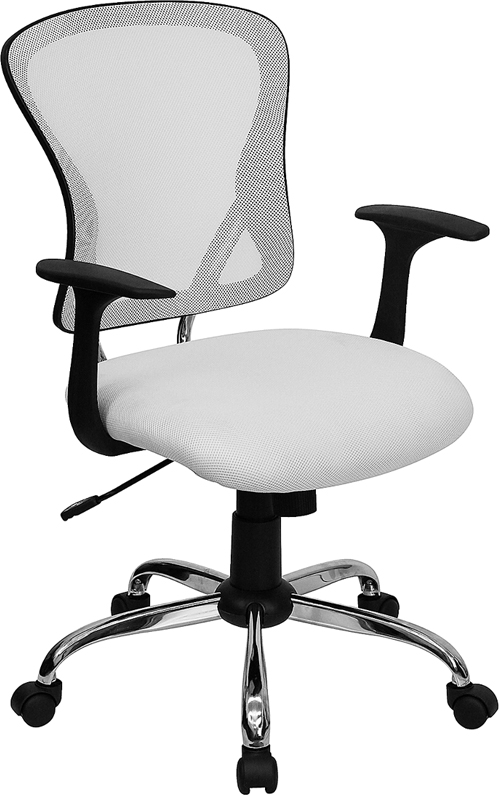 Mid-Back White Mesh Swivel Task Chair with Chrome Base