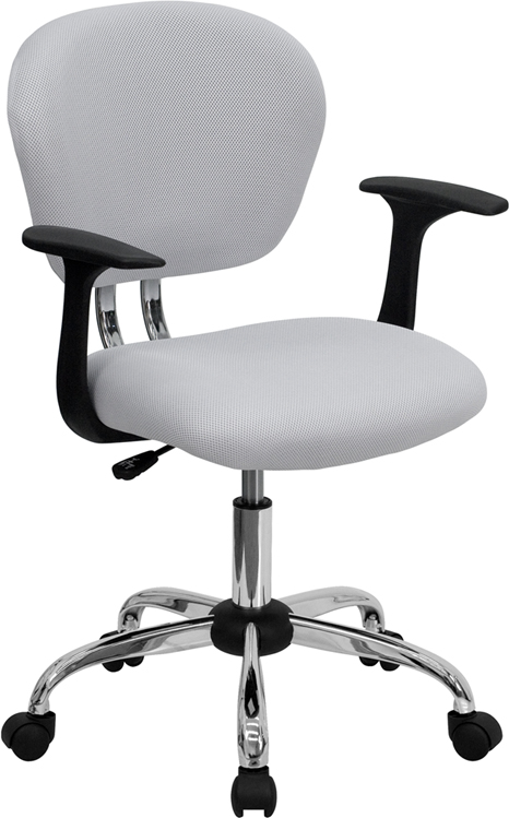 Mid-Back White Mesh Swivel Task Chair with Chrome Base and Arms