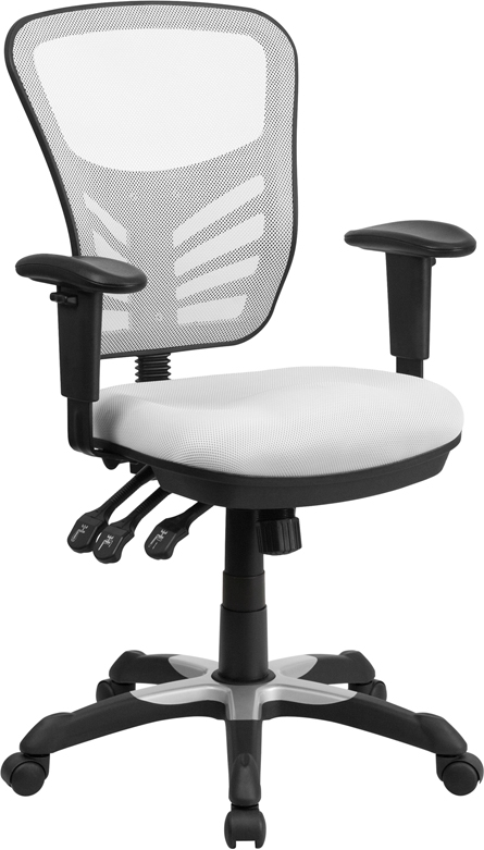 Mid-Back White Mesh Swivel Task Chair with Triple Paddle Control