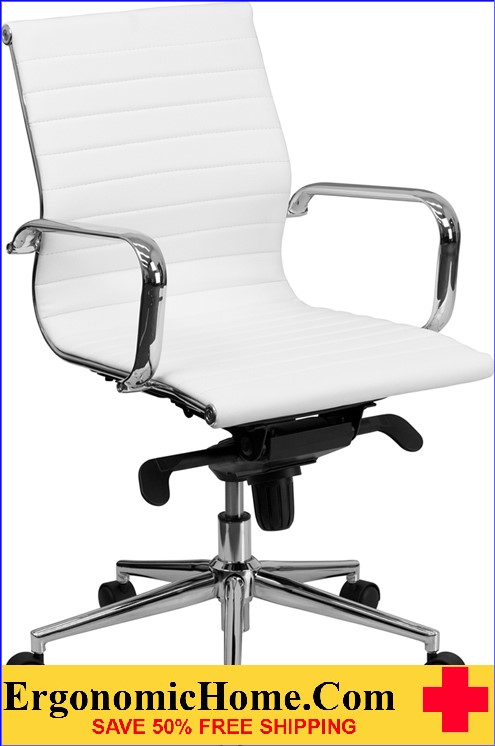 Ergonmic Home Mid-Back White Ribbed Upholstered Leather Swivel Conference Chair <b><font color=green>50% Off Read More Below...</font></b>