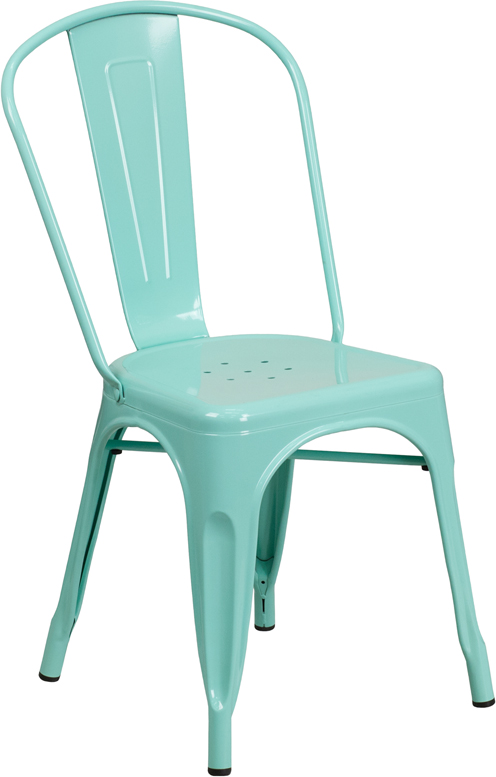 ERGONOMIC HOME Mint Green Metal Indoor-Outdoor Stackable Chair