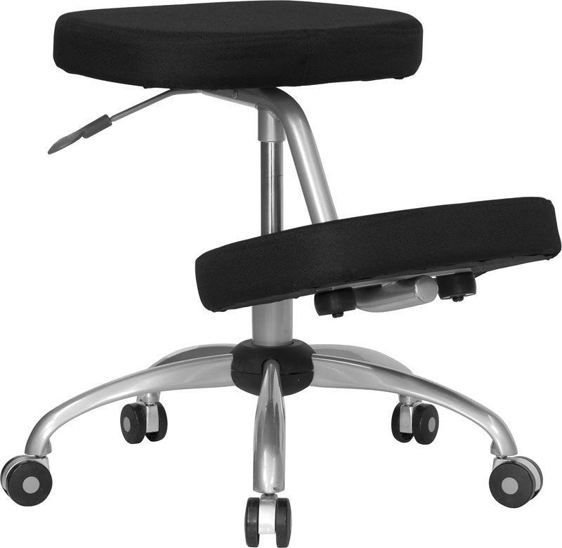 Mobile Ergonomic Kneeling Chair in Black Fabric with Silver Powder Coated Frame EH-WL-1425-GG