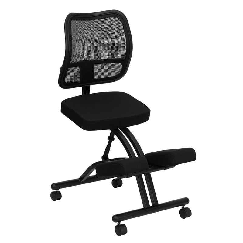 mobile ergonomic kneeling chair with black curved mesh back and