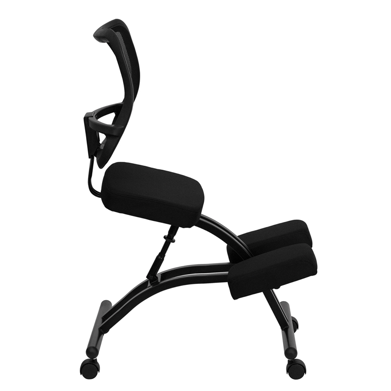 Mobile Ergonomic Kneeling Chair with Black Curved Mesh Back and Fabric Seat  sc 1 st  Ergonomic Home & Mobile Ergonomic Kneeling Chair with Black Curved Mesh Back and ...