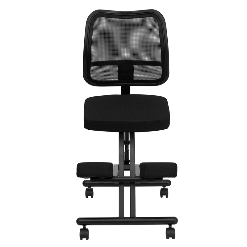 Mobile Ergonomic Kneeling Chair With Black Curved Mesh