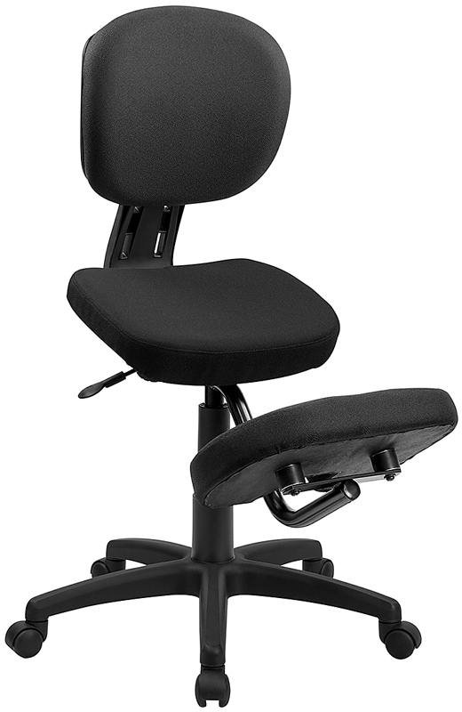 Mobile Ergonomic Kneeling Posture Task Chair in Black Fabric with Back EH-WL-1430-GG