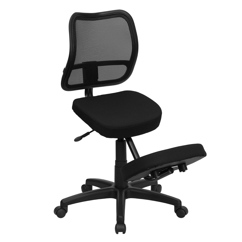 Mobile Ergonomic Kneeling Task Chair with Black Curved Mesh Back and Fabric Seat EH-WL-3425-GG