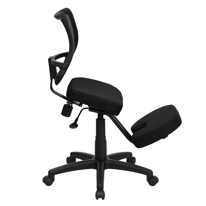 mobile ergonomic kneeling task chair with black curved mesh back and