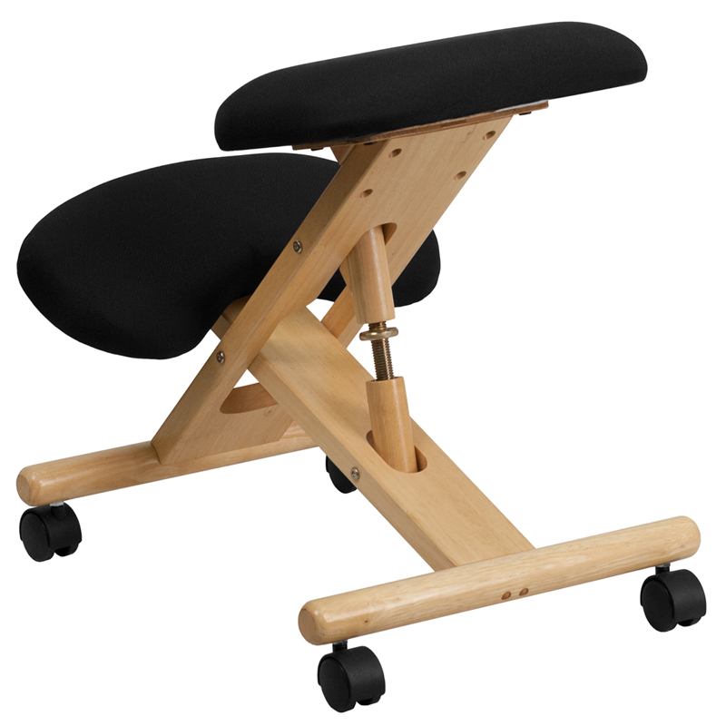 Mobile Wooden Ergonomic Kneeling Chair In Black Fabric